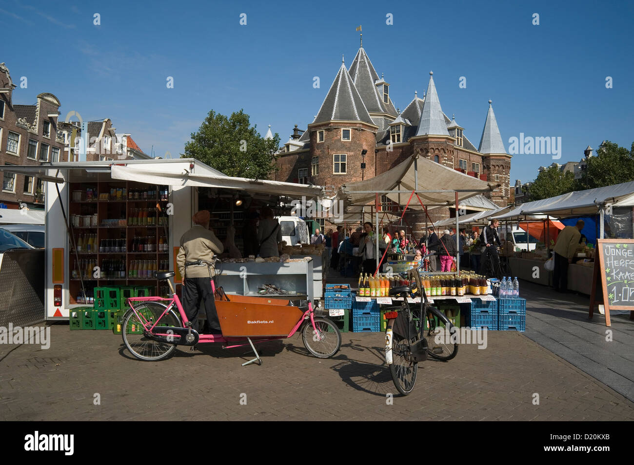 Nieuwmarkt with De Waag, Amsterdam, North Holland, The Netherlands - Stock Image