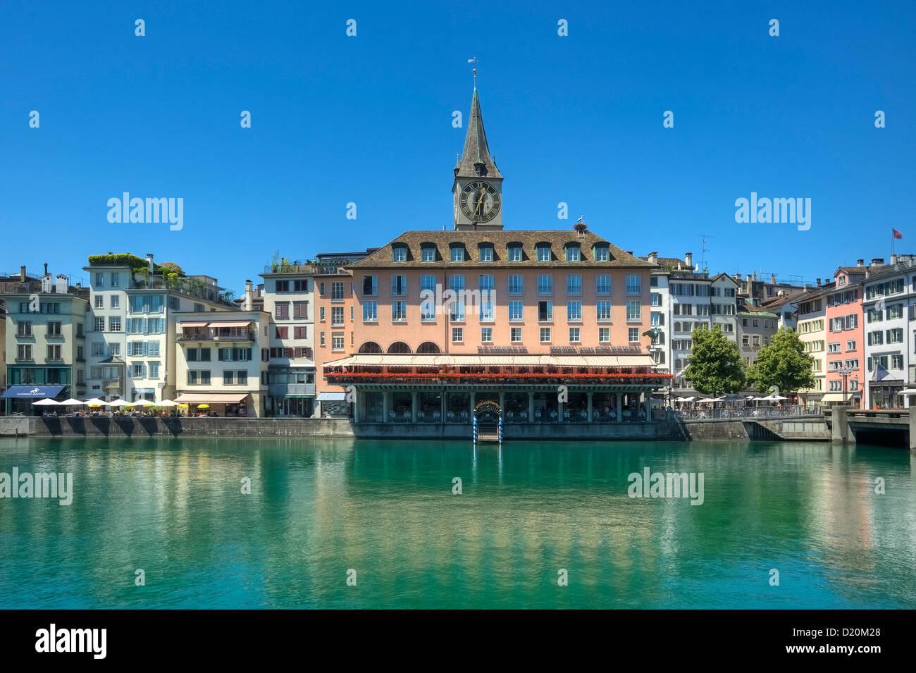 Limmat river with St. Peter and Hotel zum Storchen, Zurich, Switzerland, Europe - Stock Image