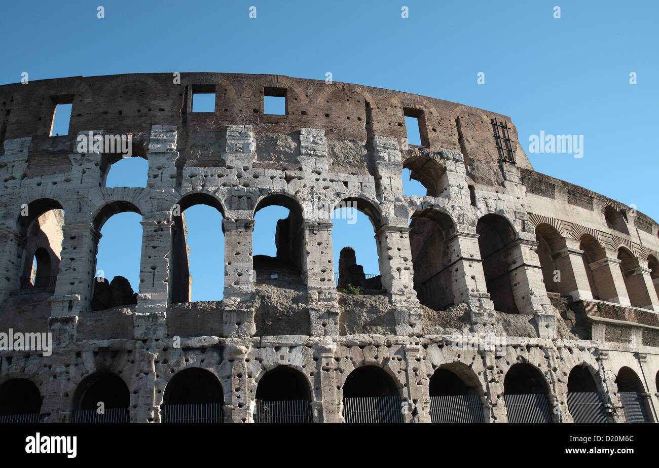 Detail of the Colosseum Rome Italy - Iconic symbol of Ancient Rome - Stock Image