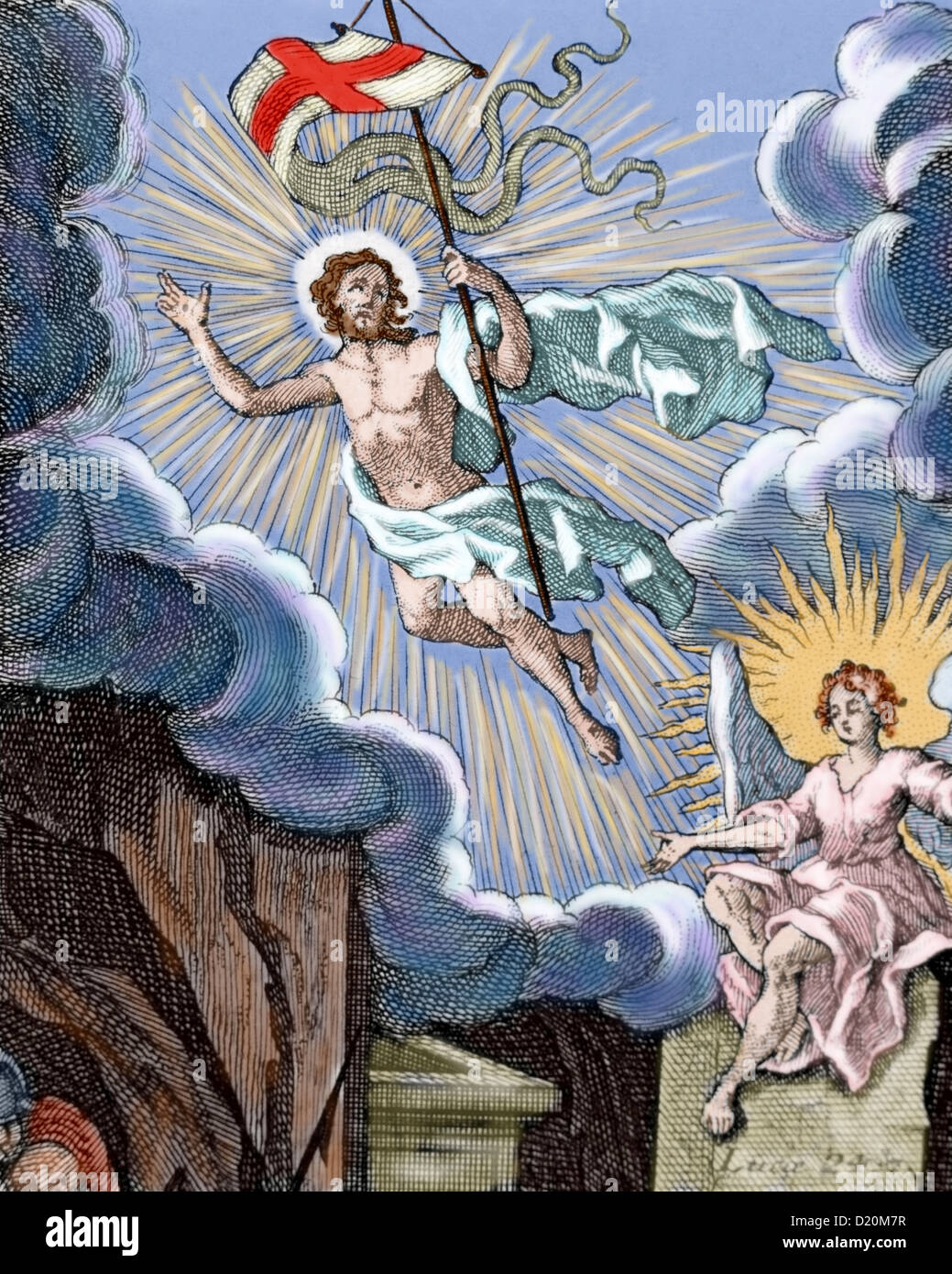 Luke 24. Resurrection of Jesus. Colored engraving. - Stock Image