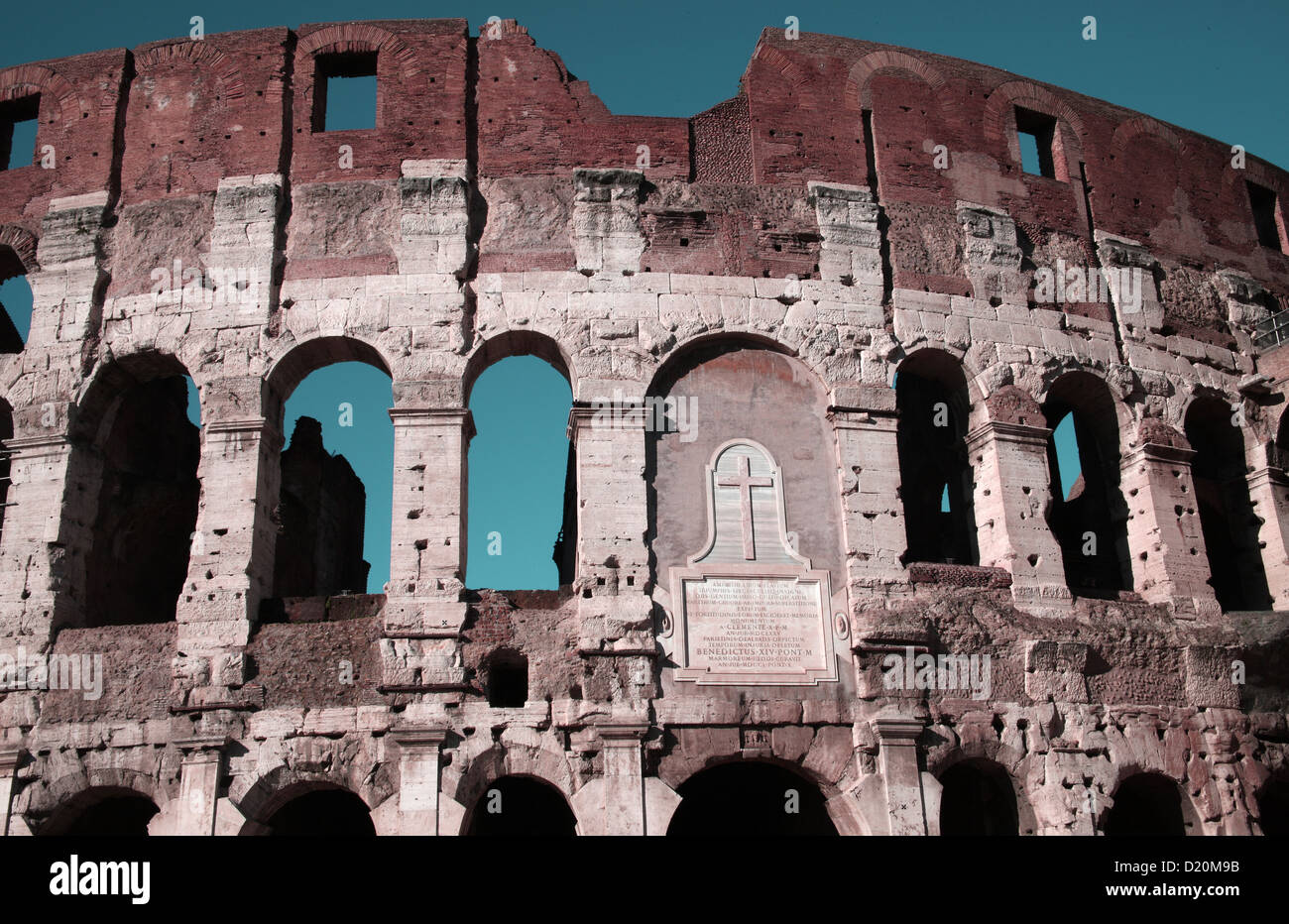 Detail of the Colosseum Rome Italy - Iconic symbol of Imperial Rome - Stock Image