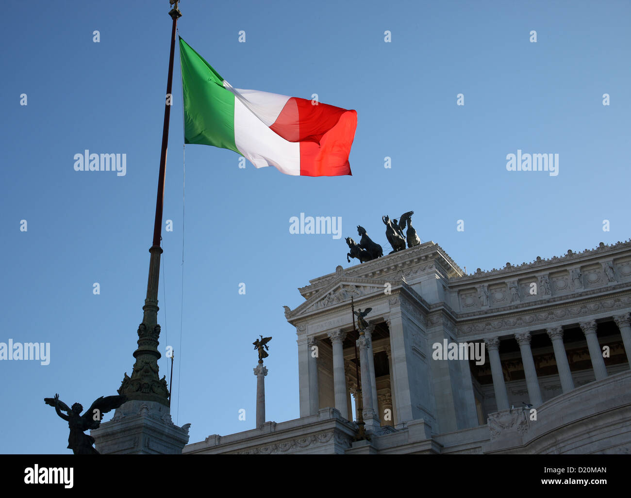 Italian flag at the Vittorio Emanuele Monument Rome Italy - Stock Image