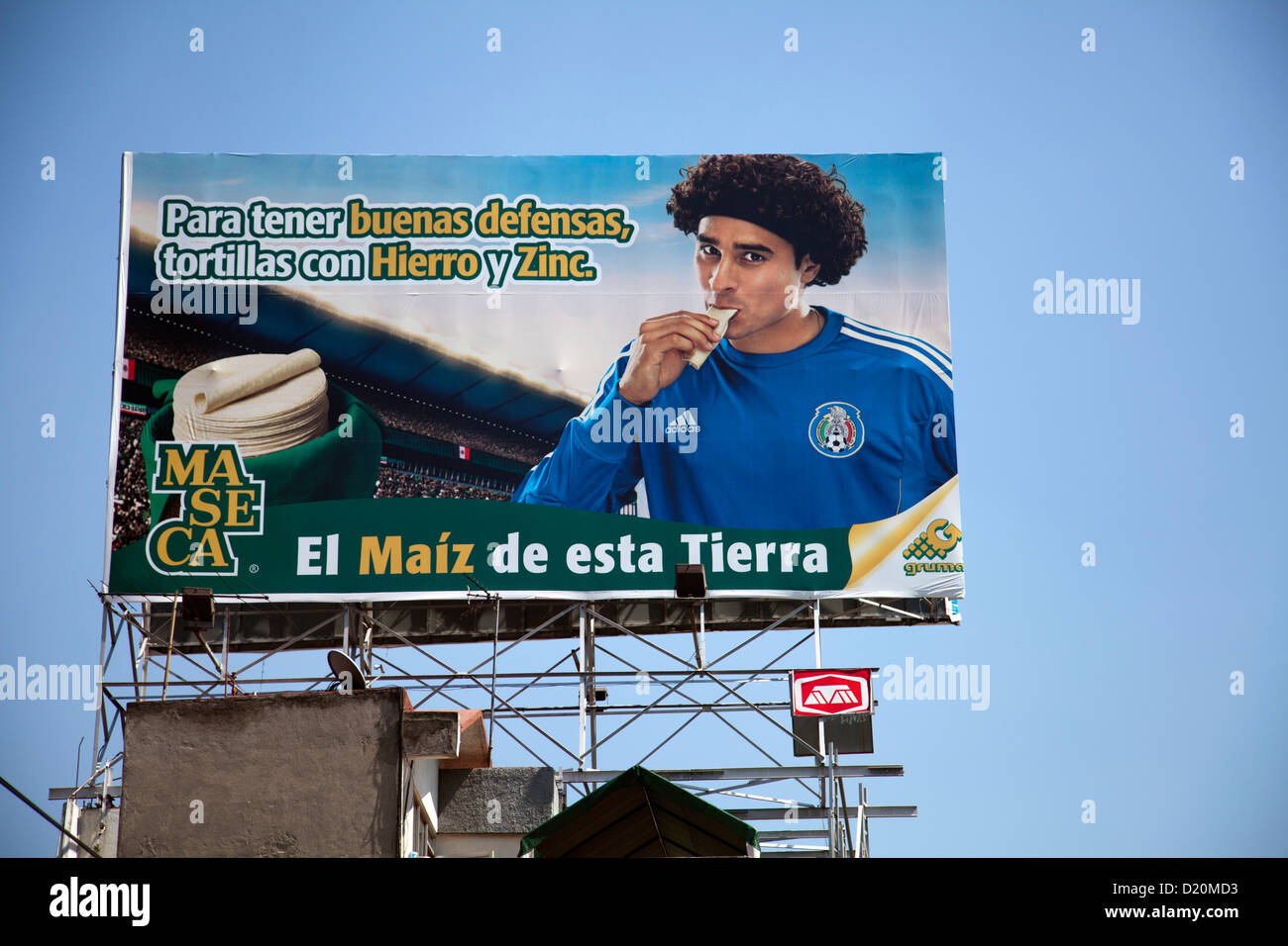 Maseca Billboard with Footballer in Mexico City DF - Stock Image