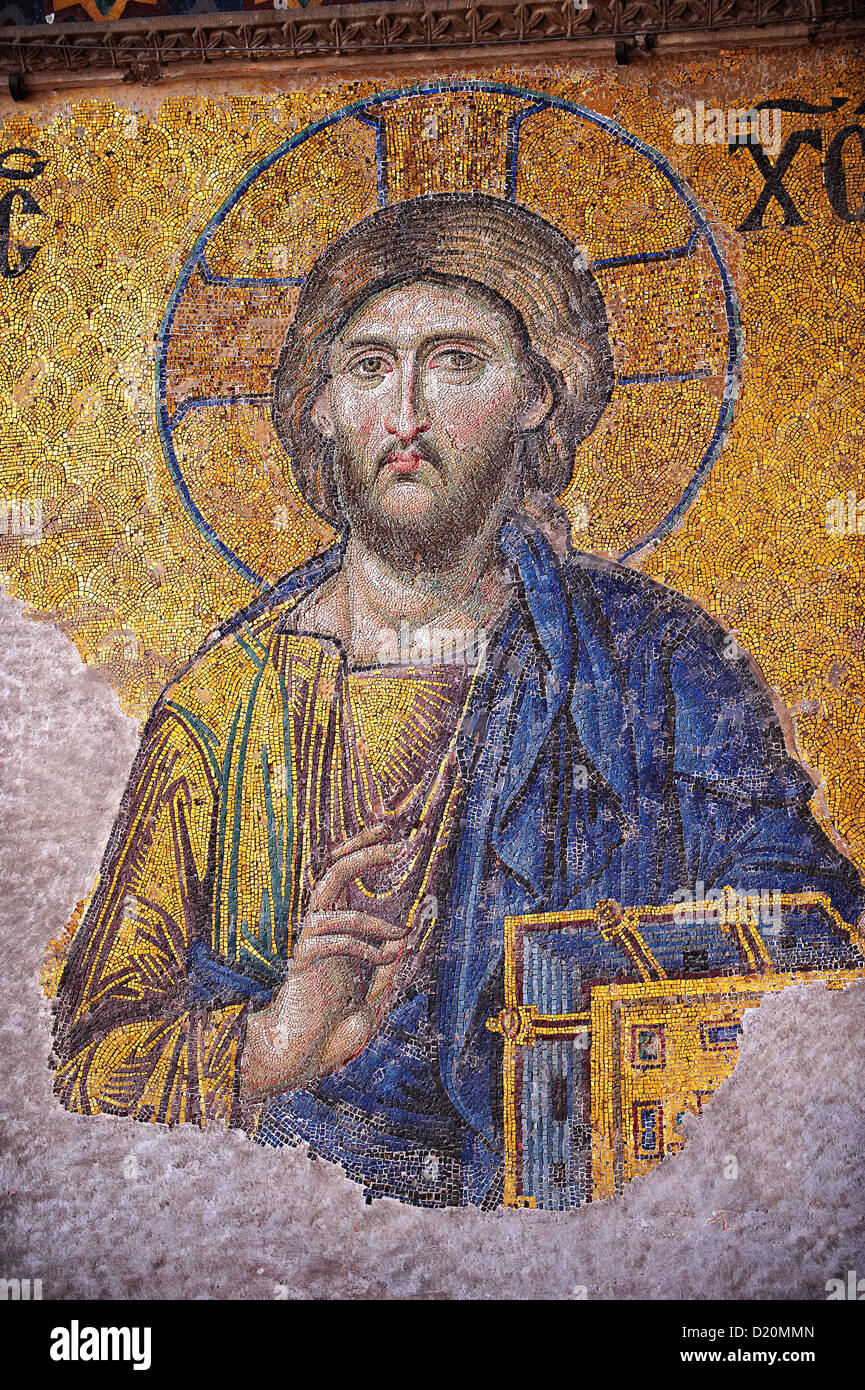 Jesus Christ Byzantine Mosaic, Hagia Sophia, Istanbul, Turkey - Stock Image