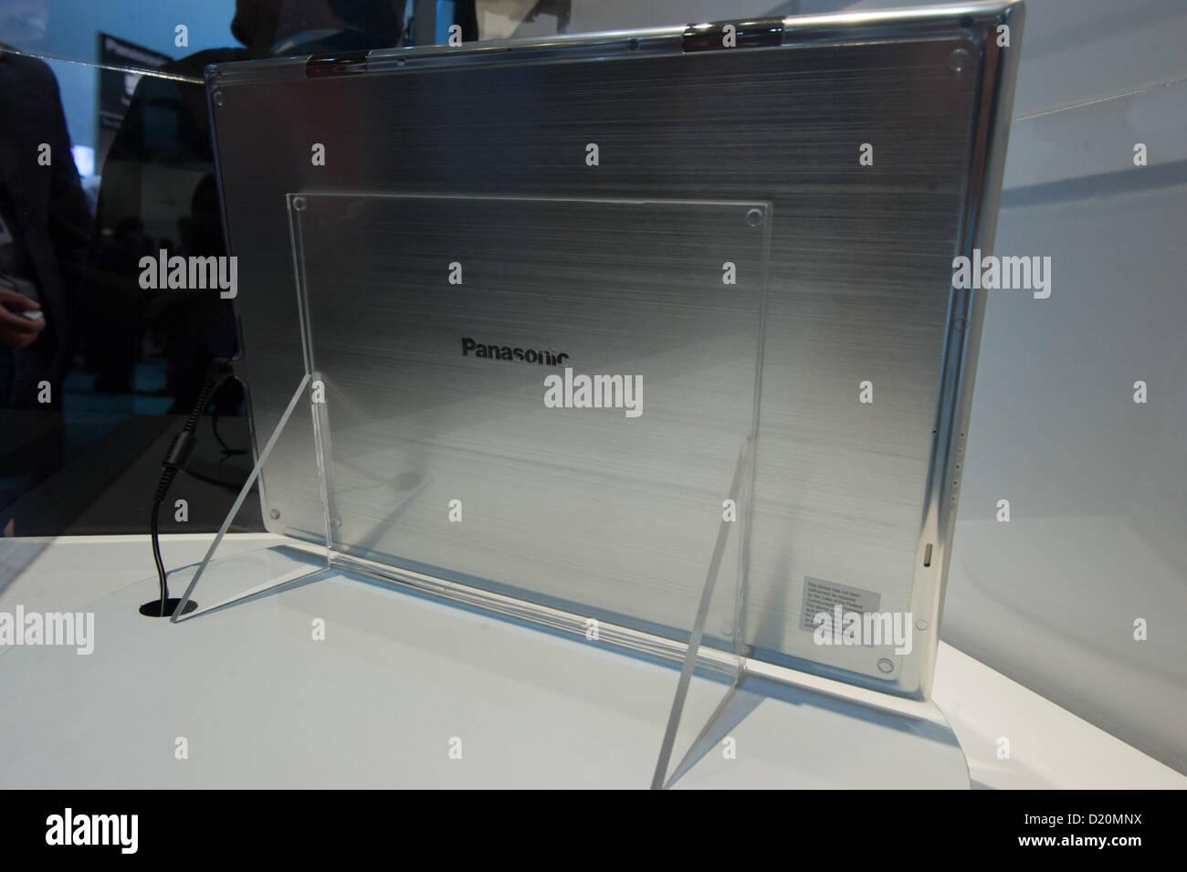 Las Vegas, US - 2013-01-08. Back of Panasonic's 20' 4k tablet on a rotating platform, inside a display sheild, - Stock Image