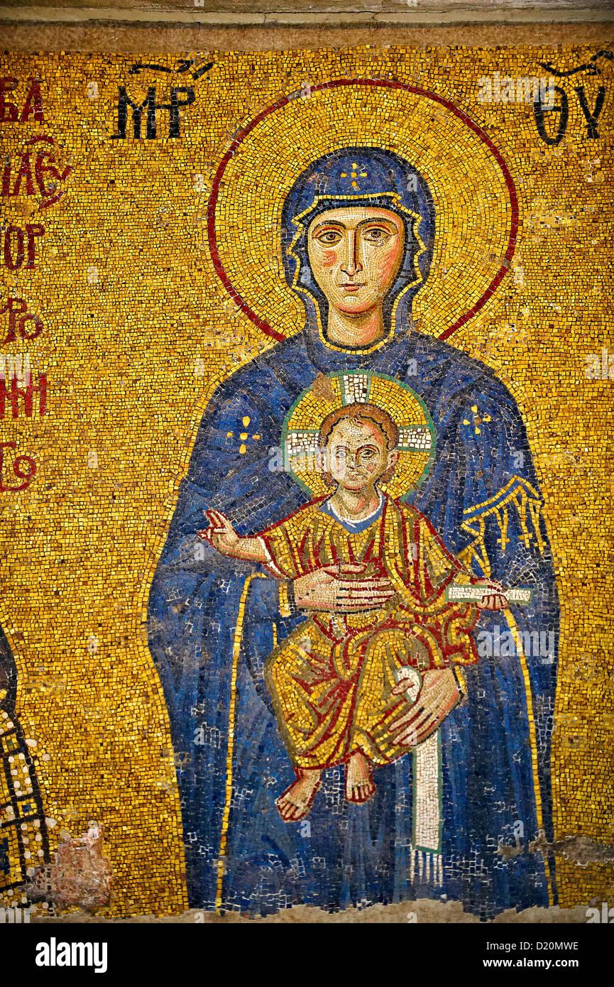 12th Century Byzantine mosaic of The Madonna & Child, Hagia Sophia, Istanbul, Turkey - Stock Image