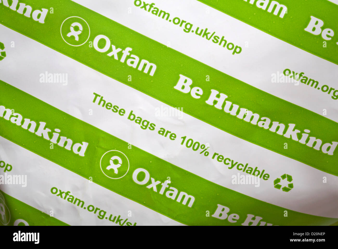 These bags are 100% recyclable Be Humankind - Oxfam bag - Stock Image