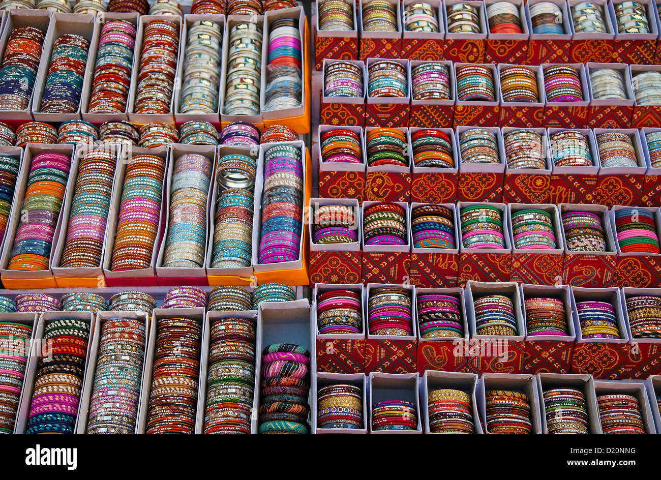 Bangles on a market stall Stock Photo