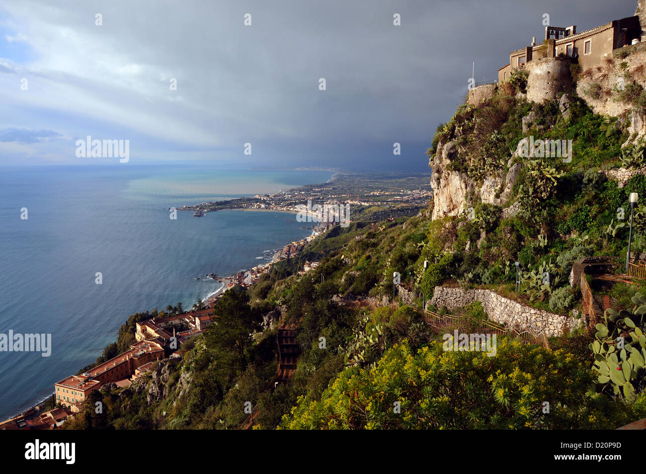 View from Taormina on the bay of Naxos, Sicily, Italy, Taormina, eastcoast, Sicily, Italy - Stock Image