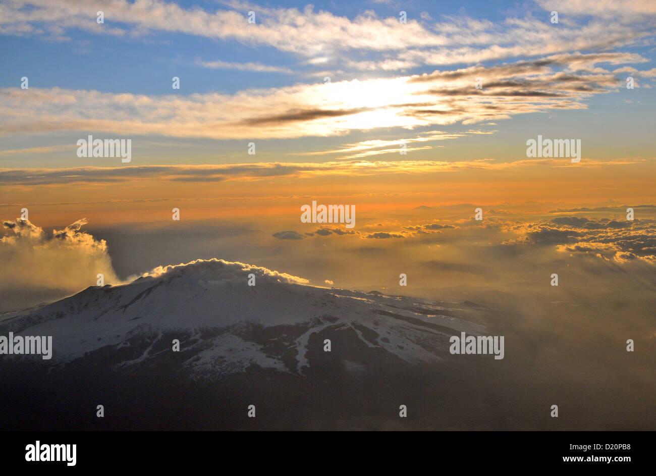 Volcano Etna from plane, eastcoast, Sicily, Italy - Stock Image