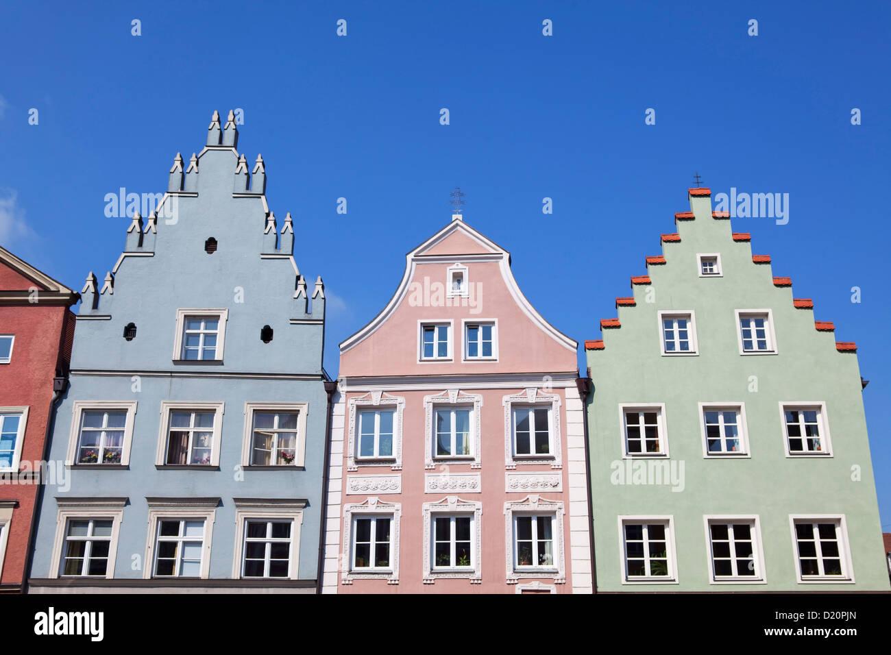 Historic facades along Neustadt Lane, Landshut, Lower Bavaria, Bavaria, Germany, Europe - Stock Image