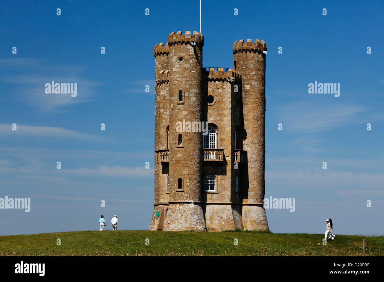 Broadway Tower in the sunlight, Gloucestershire, Cotswolds, England, Great Britain, Europe - Stock Image