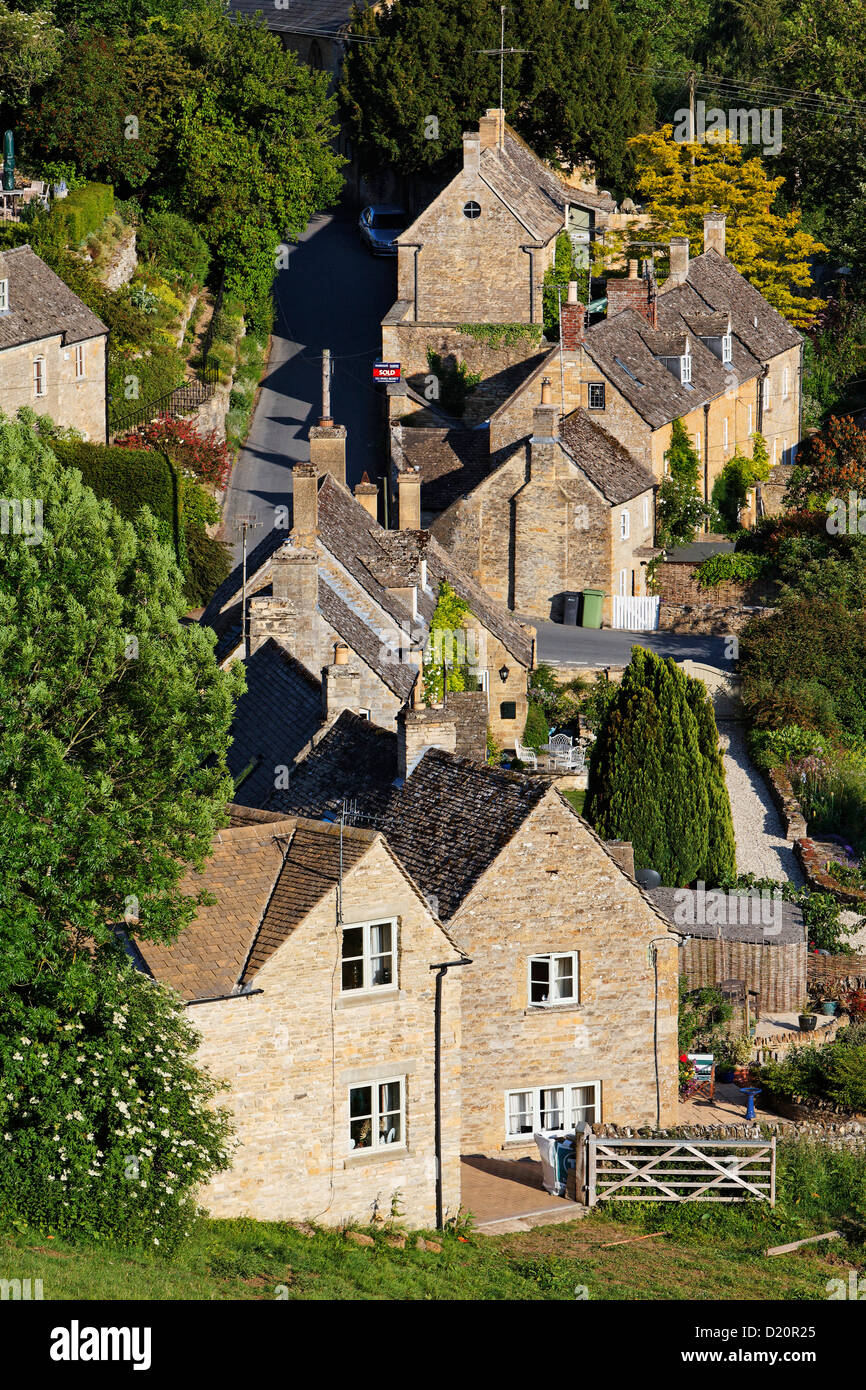 View of the houses of Naunton, Gloucestershire, Cotswolds, England, Great Britain, Europe - Stock Image