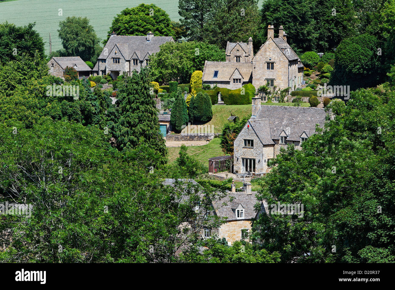 View of the village of Snowshill, Gloucestershire, Cotswolds, England, Great Britain, Europe - Stock Image