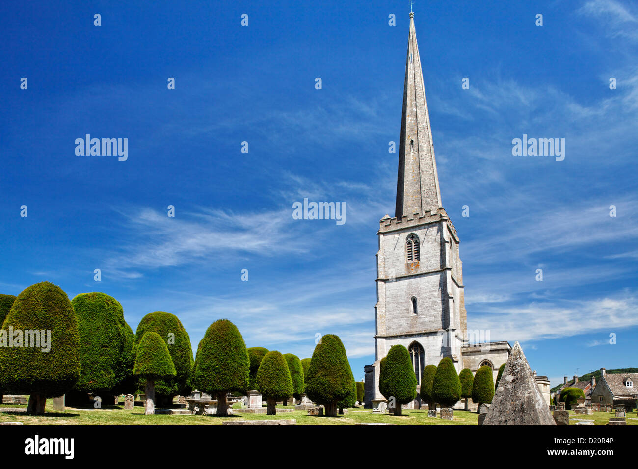 Graveyard of St. Mary's church, Painswick, Gloucestershire, Cotswolds, England, Great Britain, Europe - Stock Image
