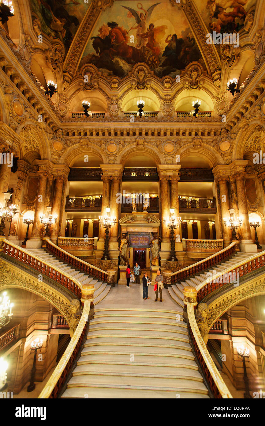 Staircase inside of the Opera Garnier, Paris, France, Europe - Stock Image