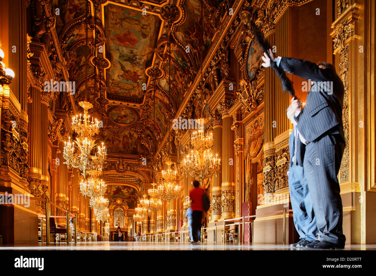 People at the Grand Foyer of the Opera Garnier, Paris, France, Europe - Stock Image