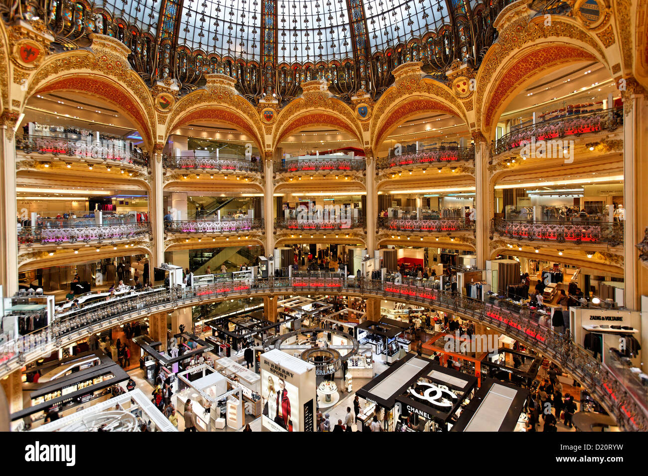 People at the department store Galeries Lafayette, Paris, France, Europe - Stock Image