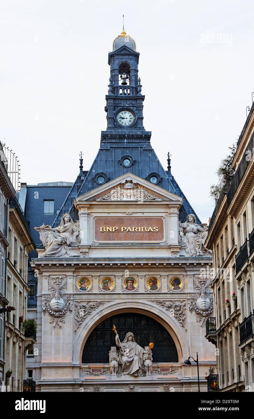 Detail of the BNP Paribas building, Rue de Rougemont, Paris, France, Europe - Stock Image