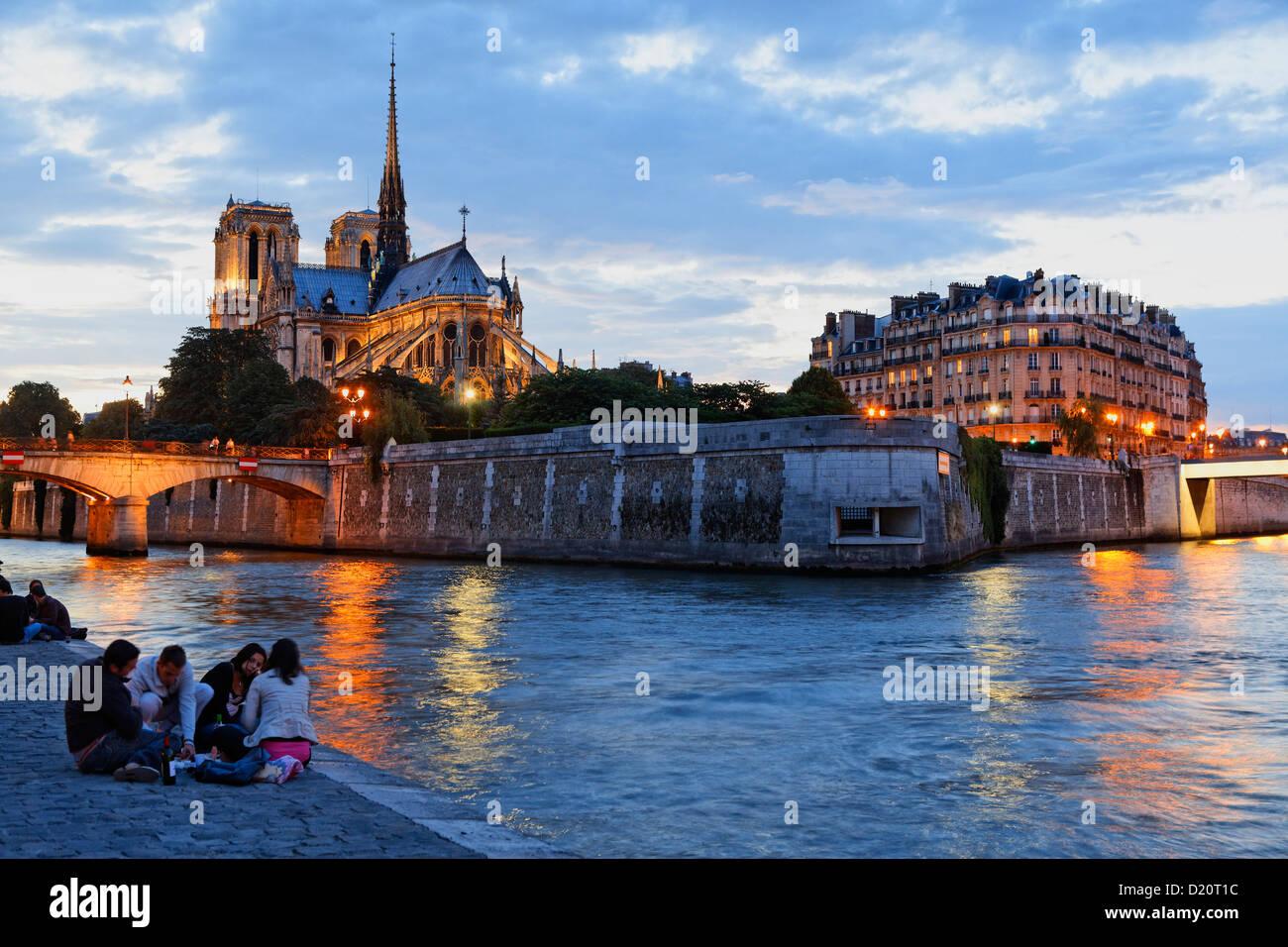 Ile de la Cite, Seine and Notre Dame in the evening, Paris, France, Europe - Stock Image