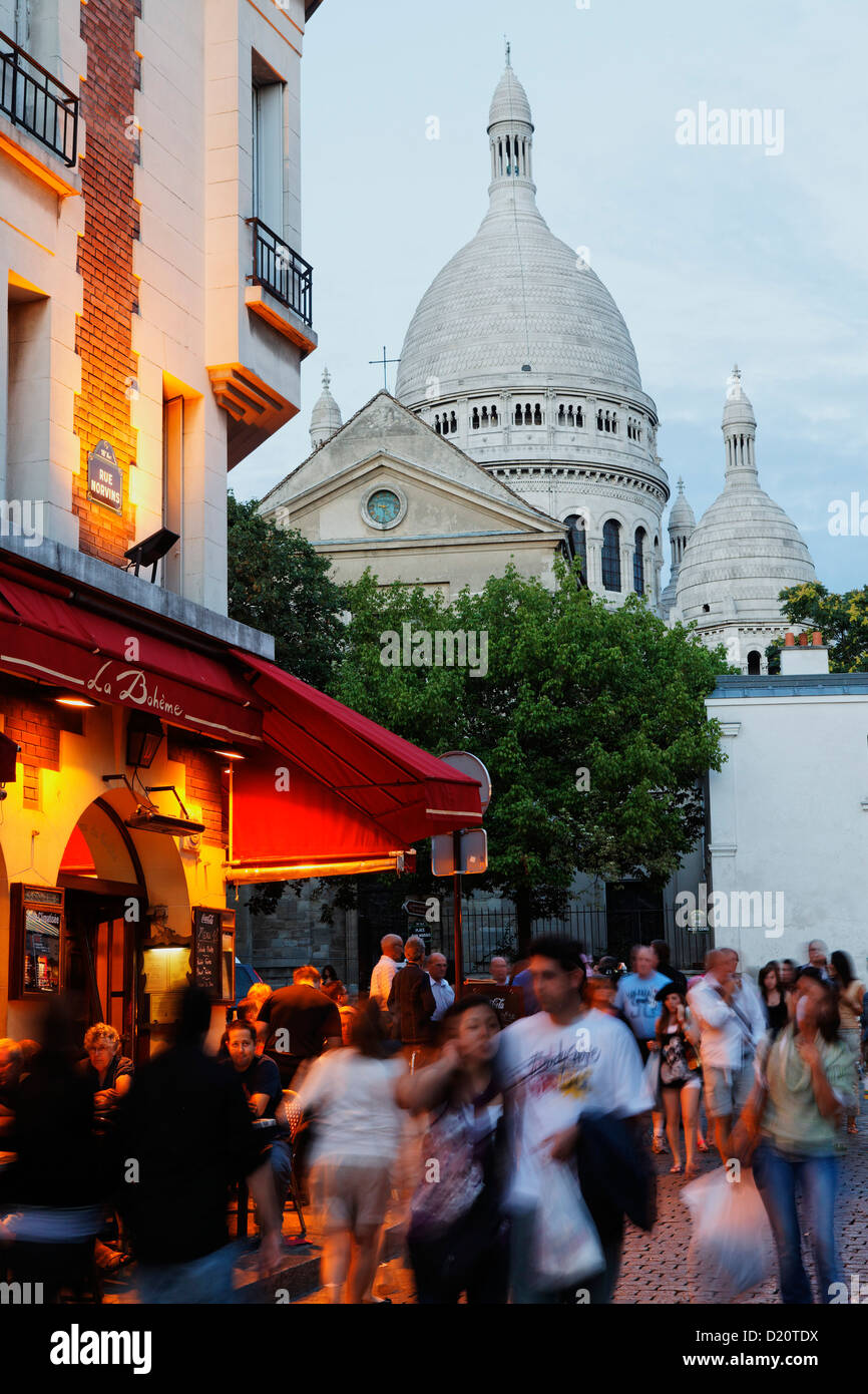 Place du Tertre and Sacre Coeur basilica in the evening, Montmartre, Paris, France, Europe - Stock Image