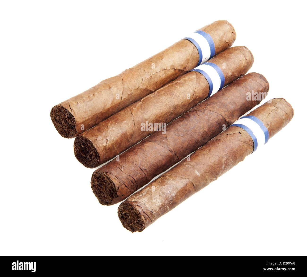 Detailed photo of cigars isolated on white background - Stock Image