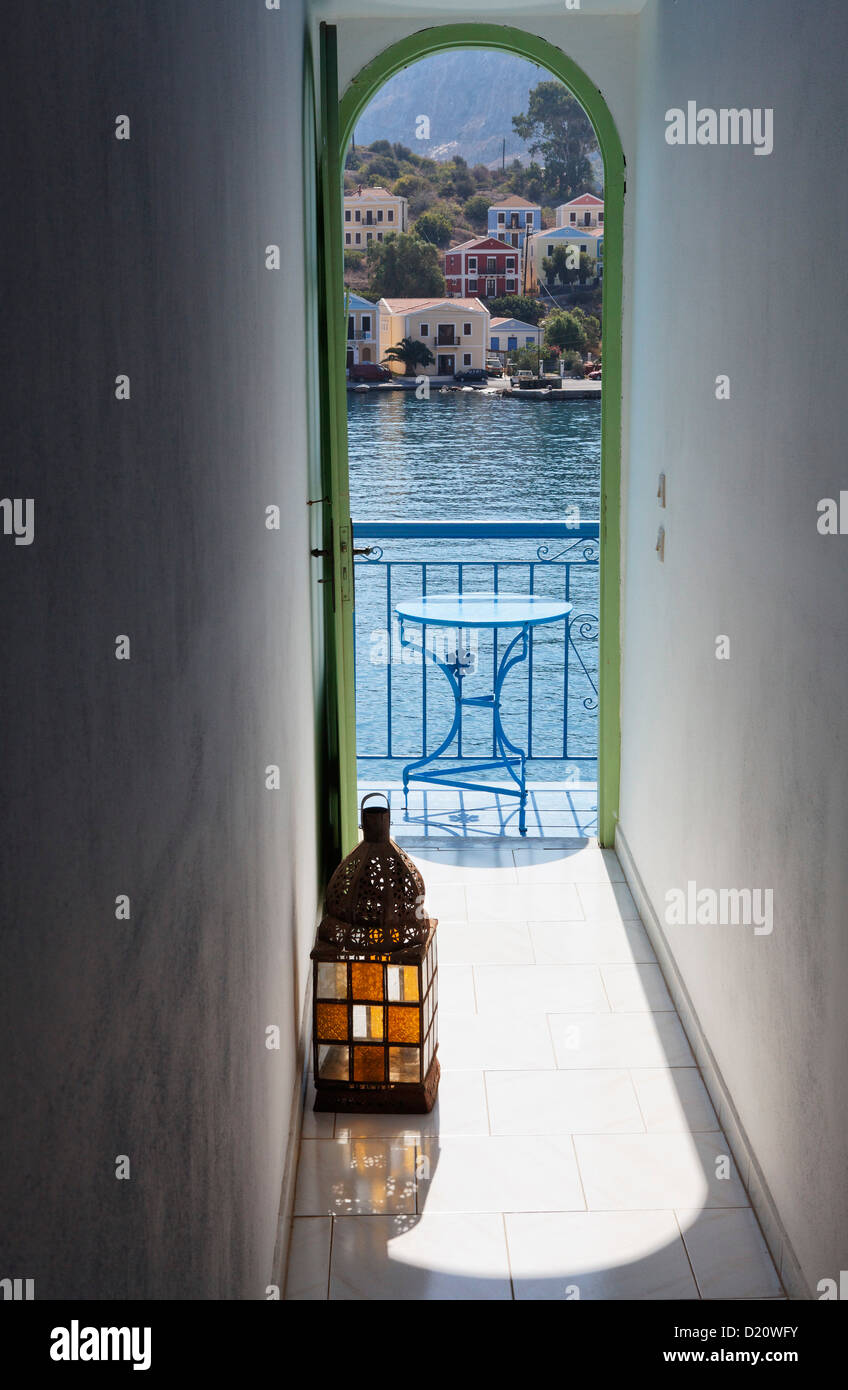 View from the hallway onto the harbour, Hotel Mediterraneo, Kastelorizo Megiste, Dodecanese Islands, Greece, Europe - Stock Image