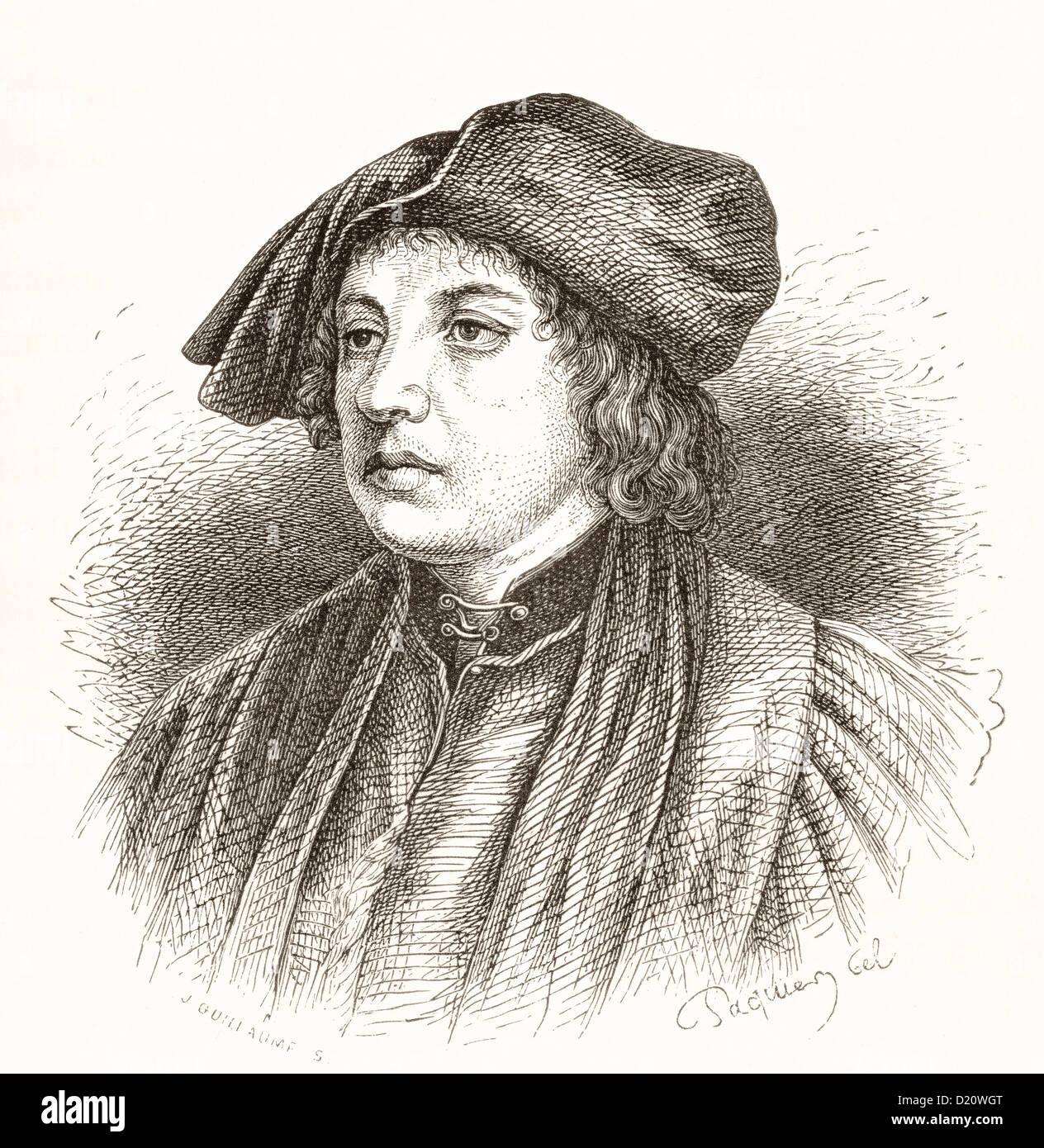 Martin Schongauer,  c.1448-1491. German engraver, artist and printmaker. - Stock Image