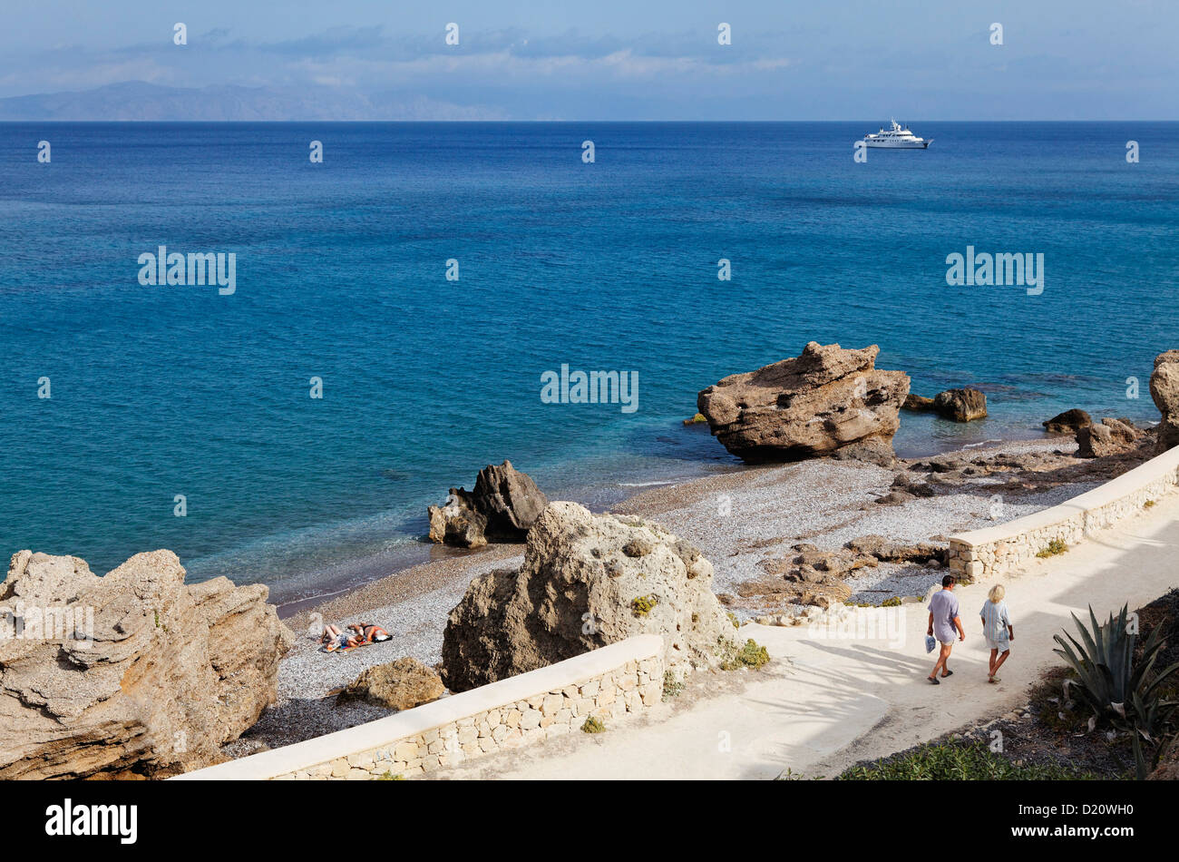 Secluded beach near Ialyssos, West coast, Rhodes, Dodecanese Islands, Greece, Europe - Stock Image