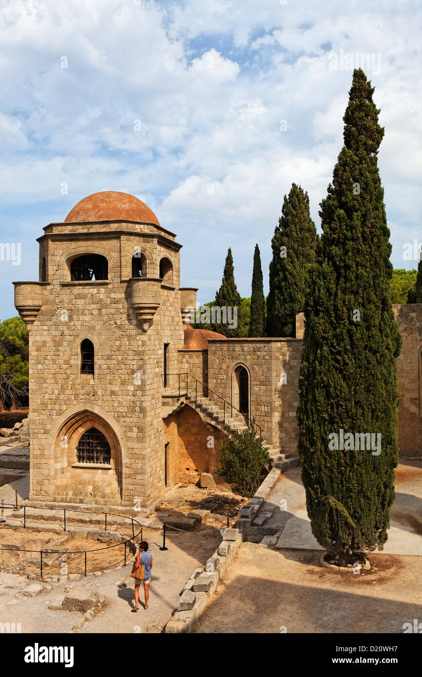 Monastery on the Filerimos hill, Rhodes, Dodecanese Islands, Greece, Europe - Stock Image
