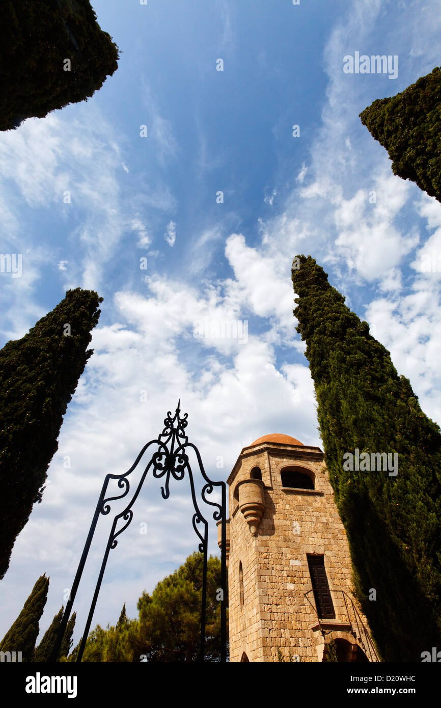 Detail of the monastery on the Filerimos hill, Rhodes, Dodecanese Islands, Greece, Europe - Stock Image