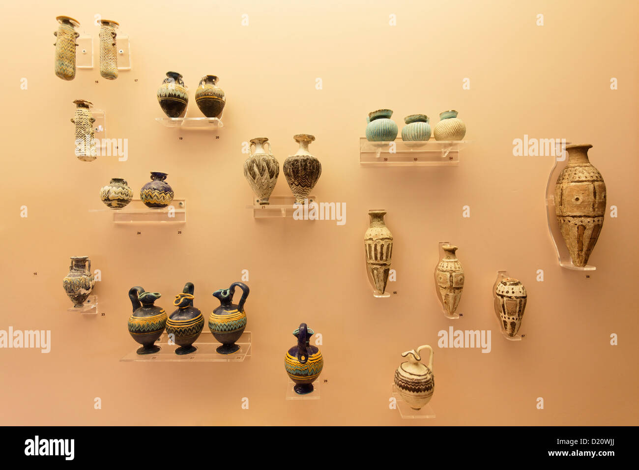 Display of old vases and amphores, archeological museum, Rhodes town, Rhodes, Dodecanese Islands, Greece, Europe - Stock Image