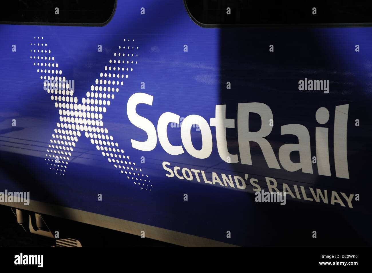 Scotrail logo on carraige, Waverley station, Edinburgh, Scotland, Uk - Stock Image