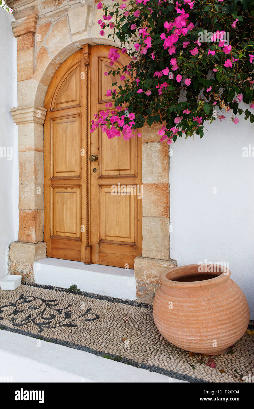 Entrance to one of the captain's houses, Lindos, Rhodes, Dodecanese Islands, Greece, Europe - Stock Image