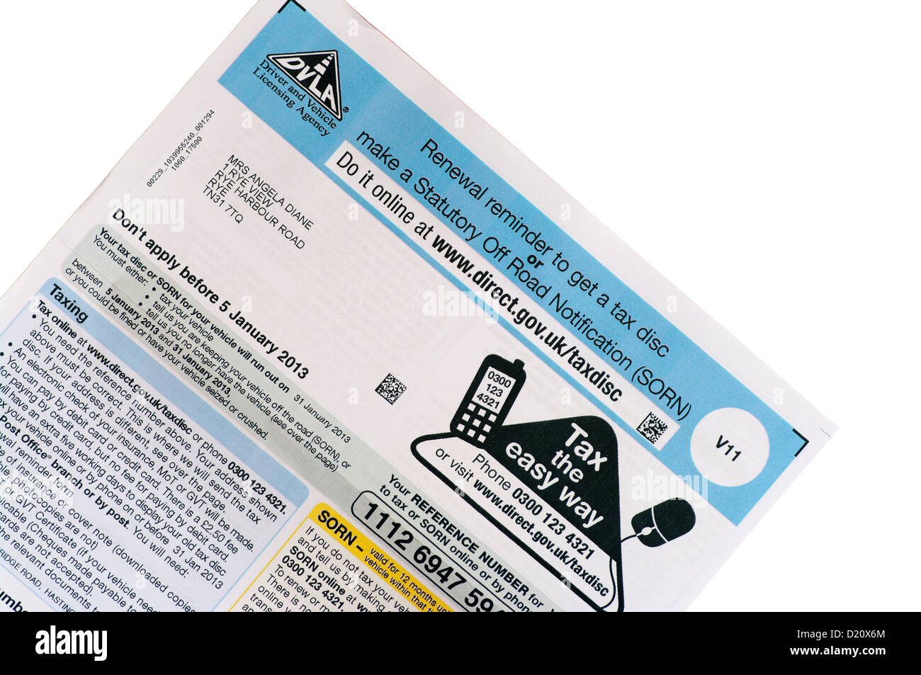 Car Tax Disc Renewal Reminder Form UK - Stock Image