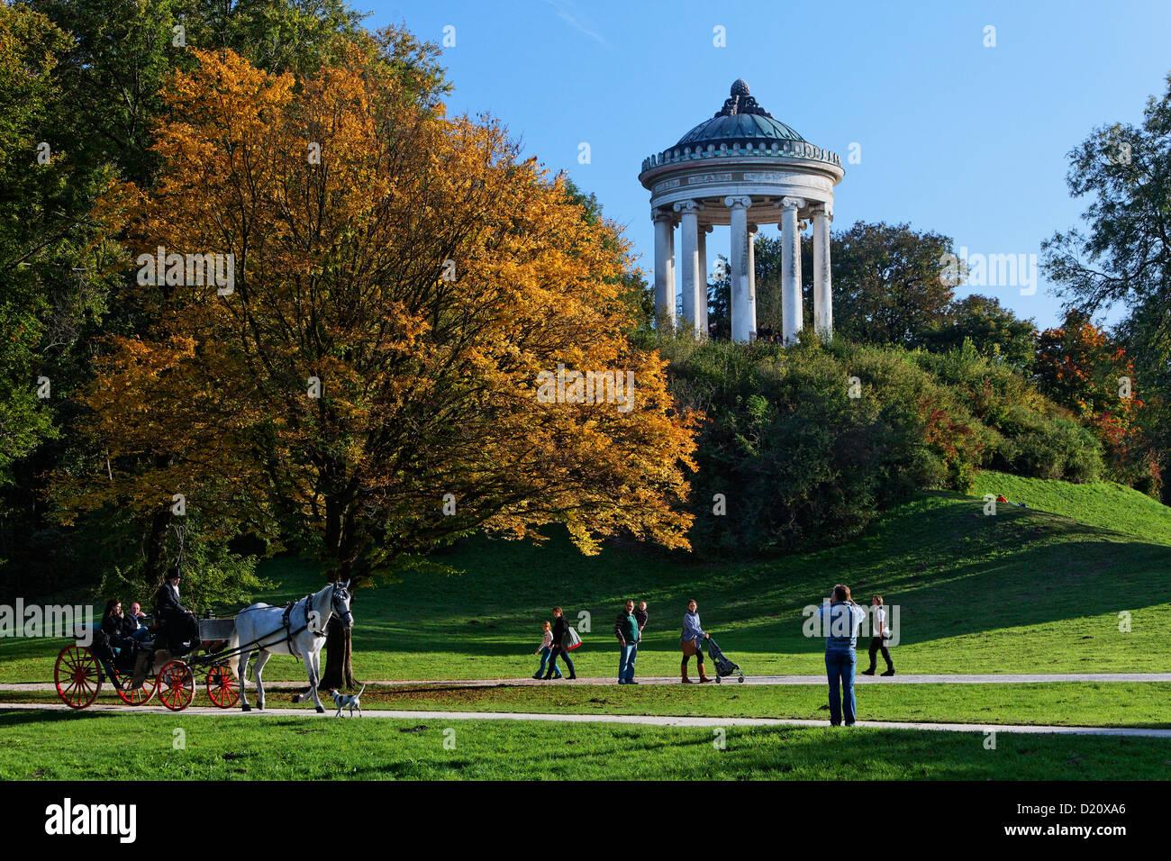 View over meadows onto Monopteros temple, Englischer Garten, English Garden, Schwabing, Munich, Upper Bavaria, Bavaria, - Stock Image