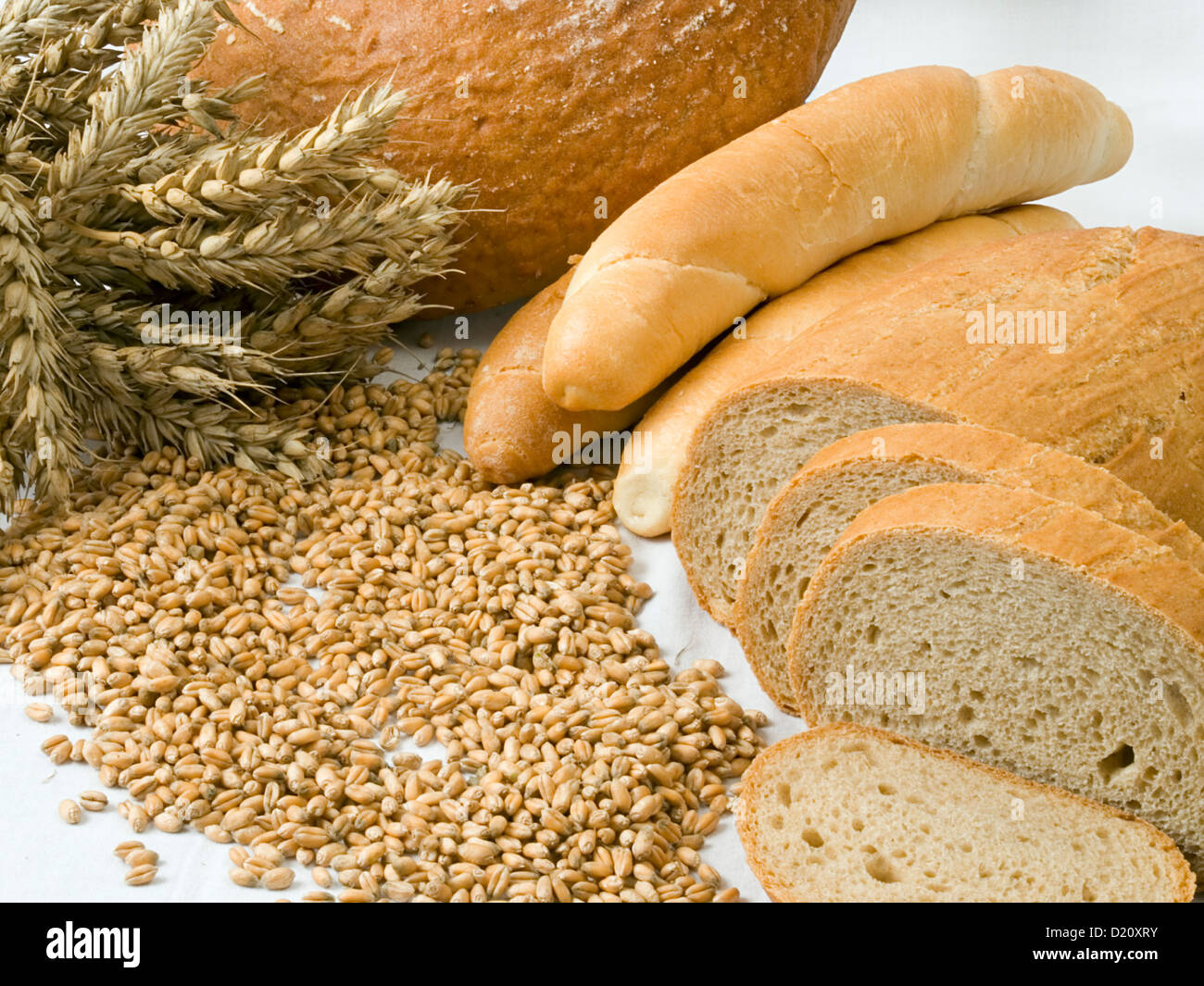Cereal and bakery products isolated on a white - Stock Image