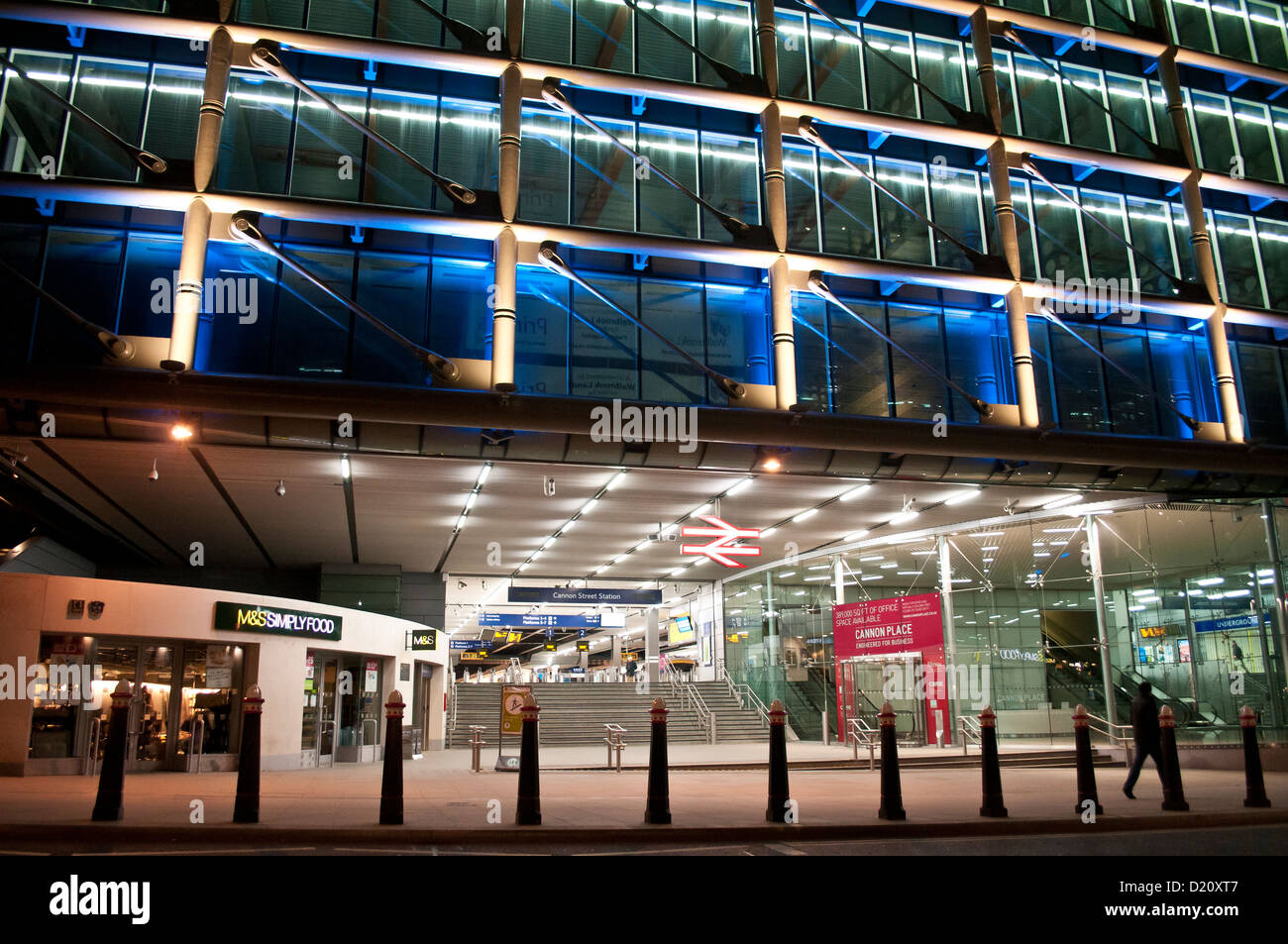 Cannon Street station at night, London, UK - Stock Image