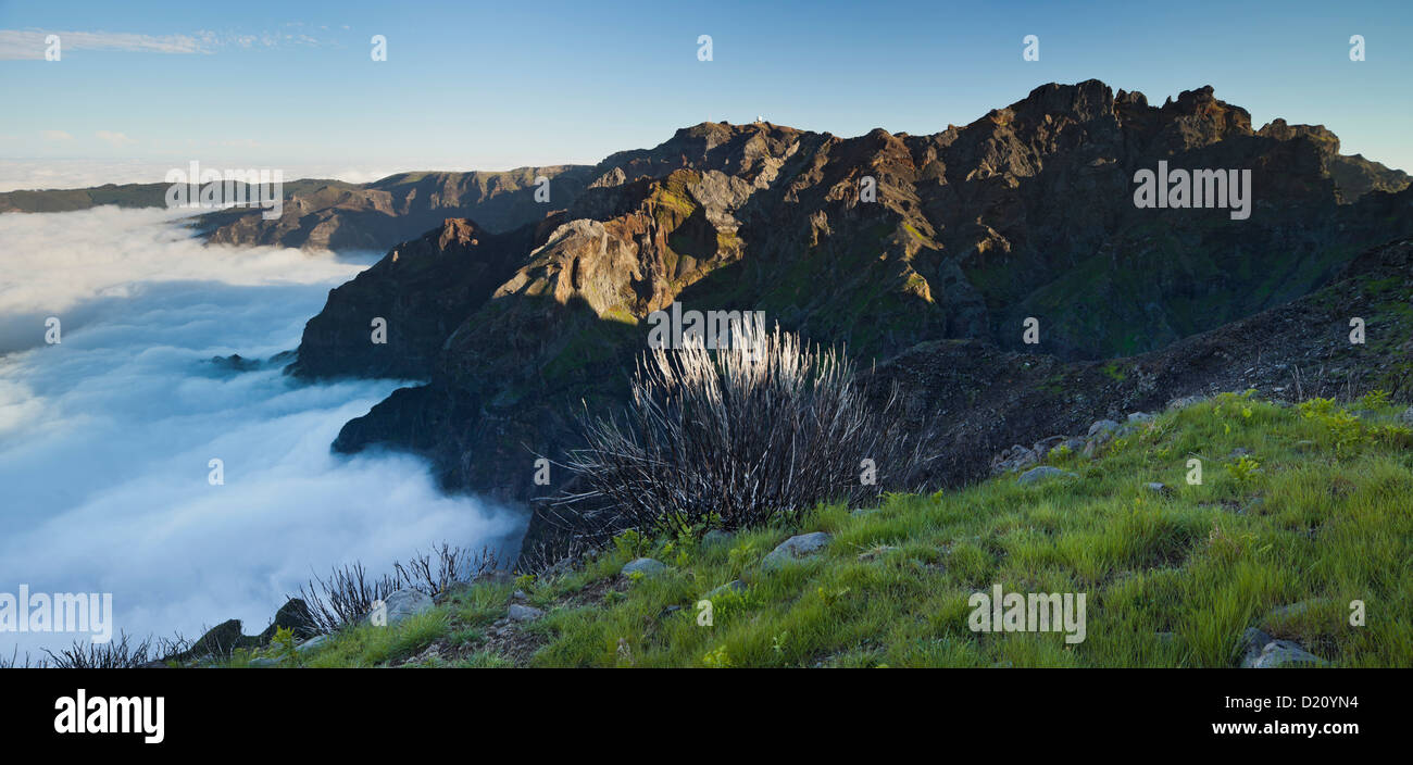 View from Terxeira onto Pico das Torres and Arieiro, Pico das Torres do Arieiro, Madeira, Portugal - Stock Image