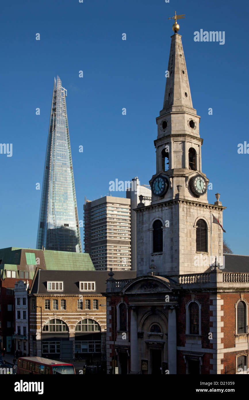 The Shard building and St.George the Martyr church, Southwark, London - Stock Image