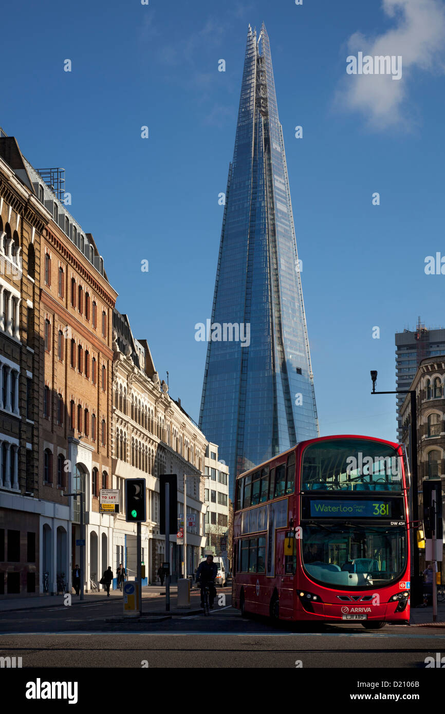 Shard building and London Red bus, Southwark, London - Stock Image