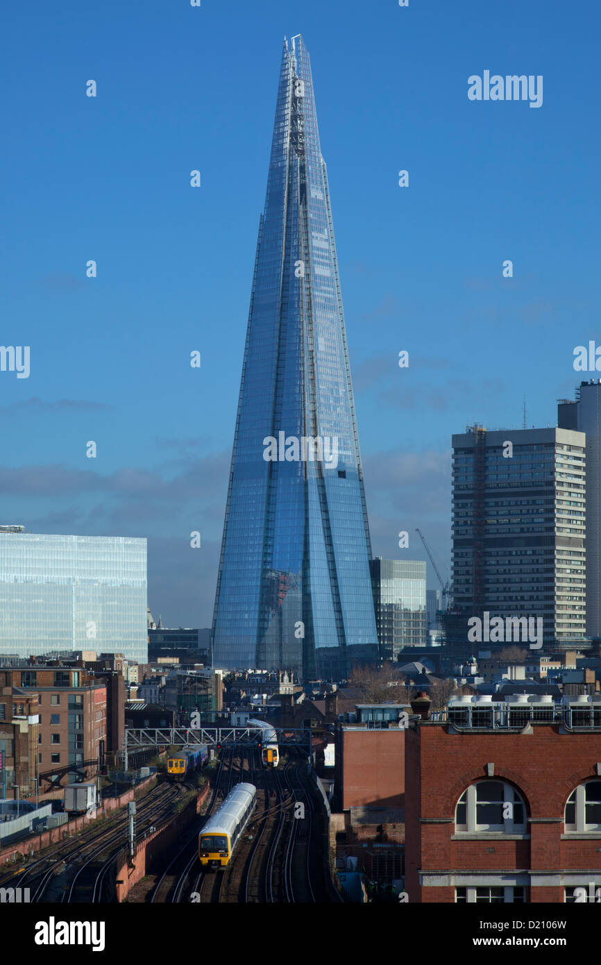Shard Building and railway line, from high viewpoint Southwark, London, England - Stock Image