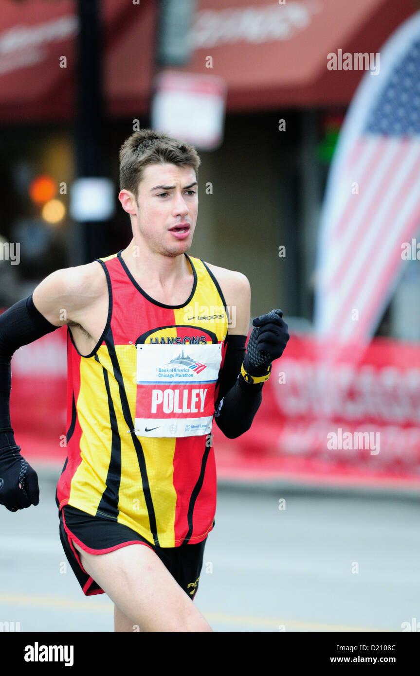USA Illinois Chicago 2012 35th Chicago Marathon elite runner of United States - Stock Image