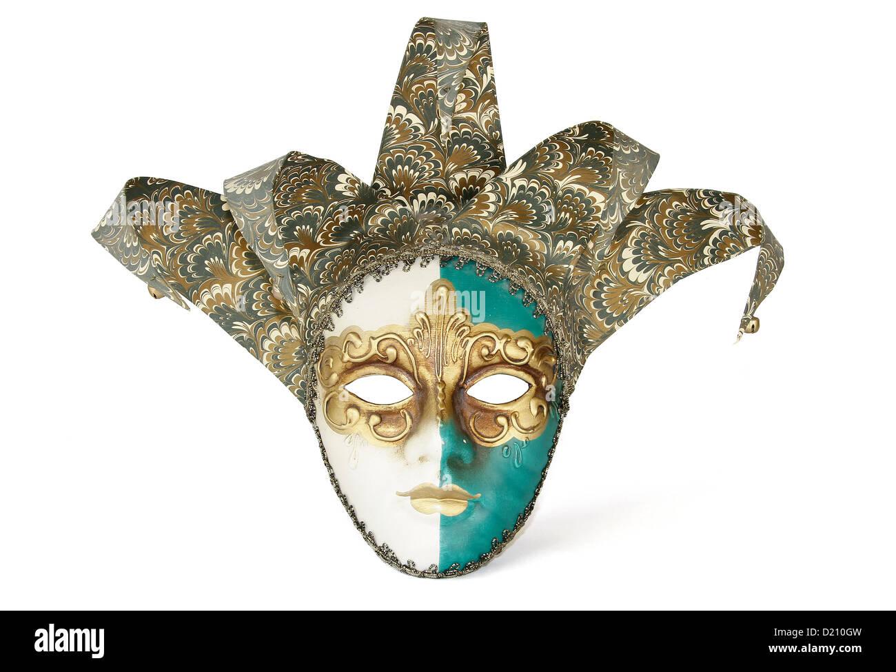 Elegant mask Carnival Venetian isolated on white background. Clipping Path - Stock Image