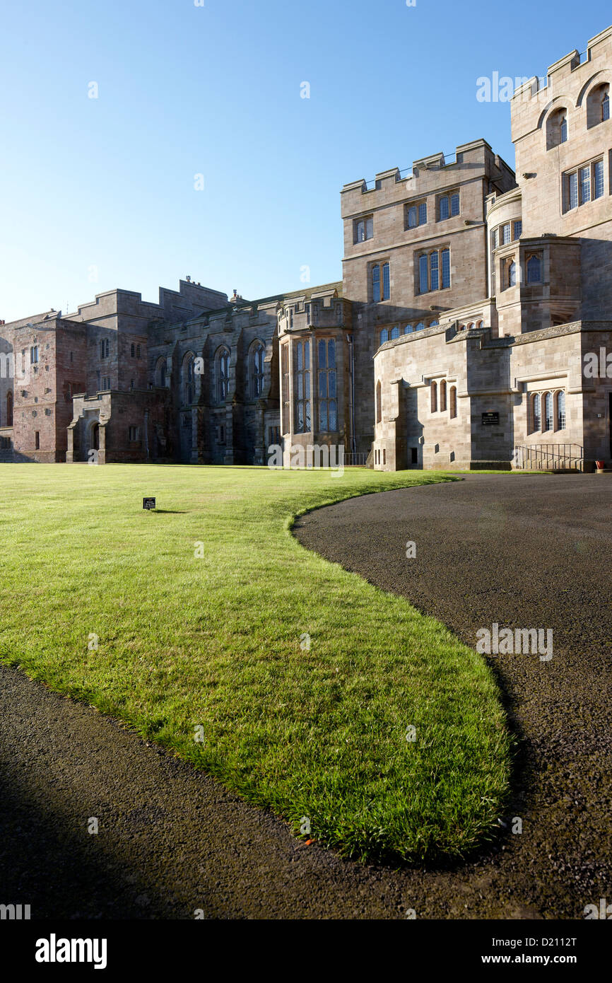 Lawn in front of Bamburgh Castle, Bamburgh, Northumberland, England, Great Britain, Europe - Stock Image