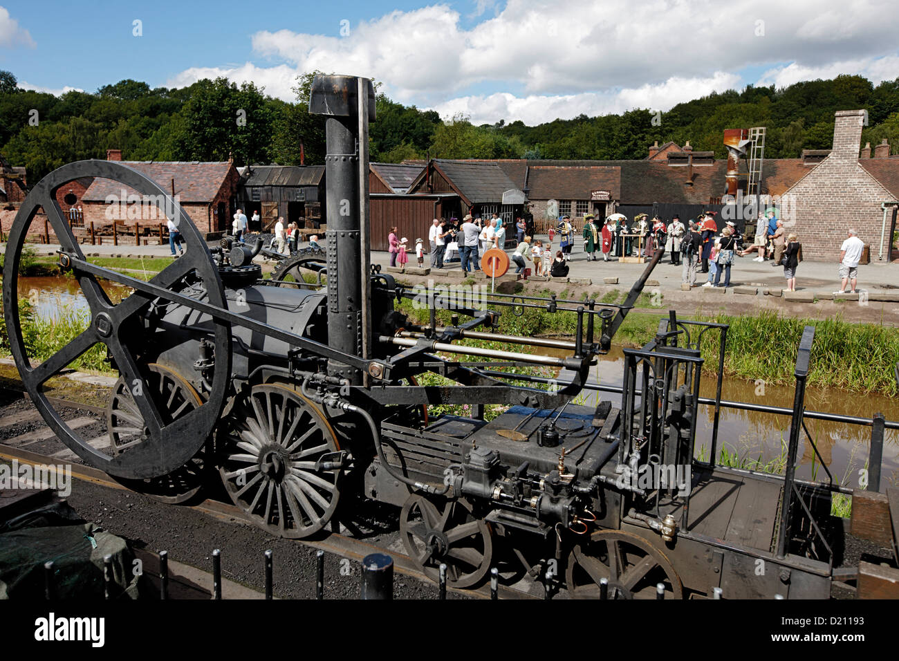 Steam engine from 1850 at The Iron Gorge Museums, Ironbridge Gorge, Telford, Shropshire, England, Great Britain, - Stock Image