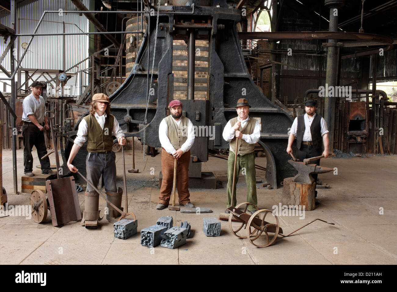 Actors in ironworks at The Iron Gorge Museums, Blists Hill Victorian Town, Ironbridge Gorge, Shropshire, England, Stock Photo