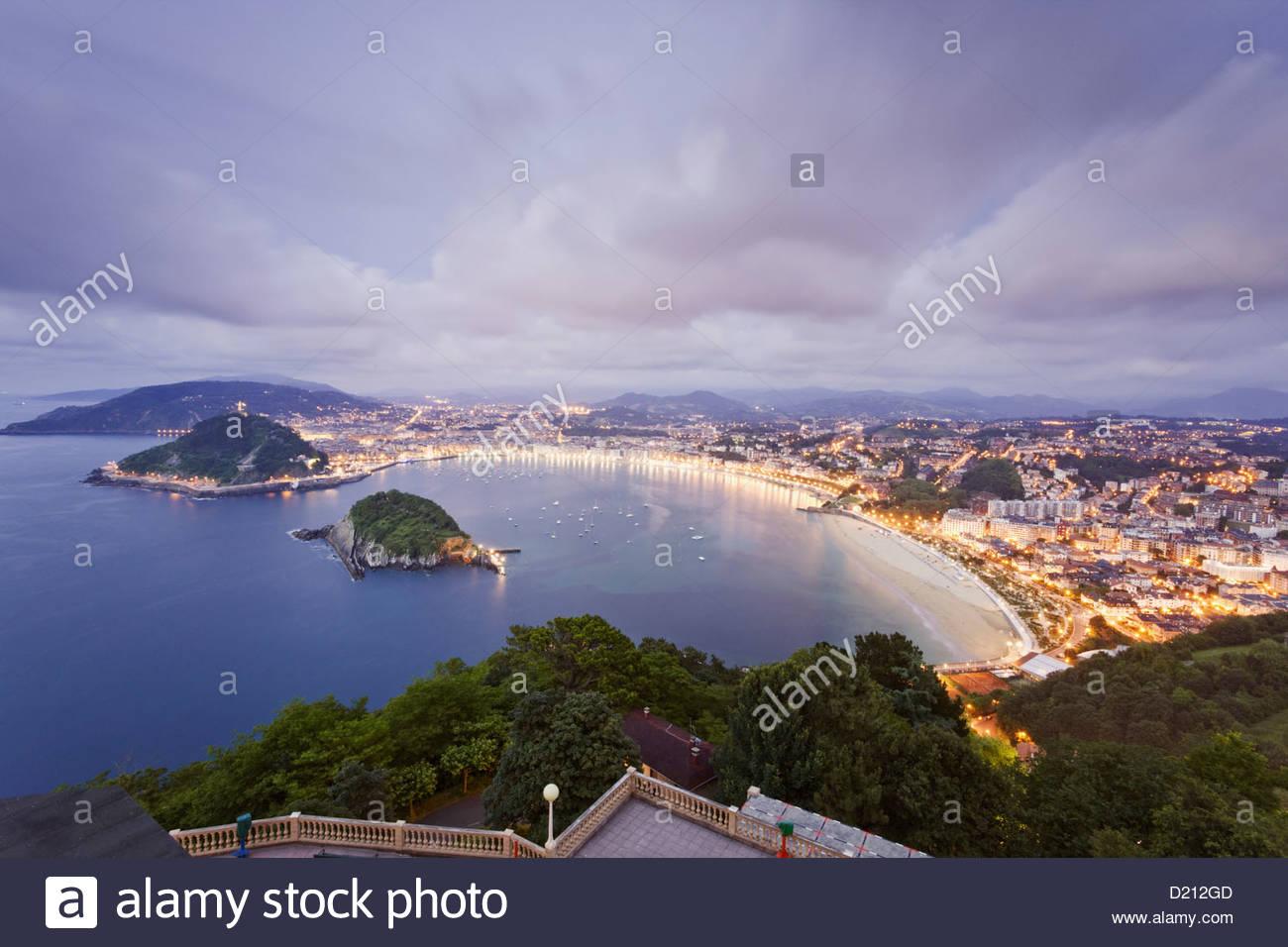 View from the Monte Igueldo onto the San Sebastian bay, La Concha, Donostia, San Sebastian, Basque Country, Spain - Stock Image