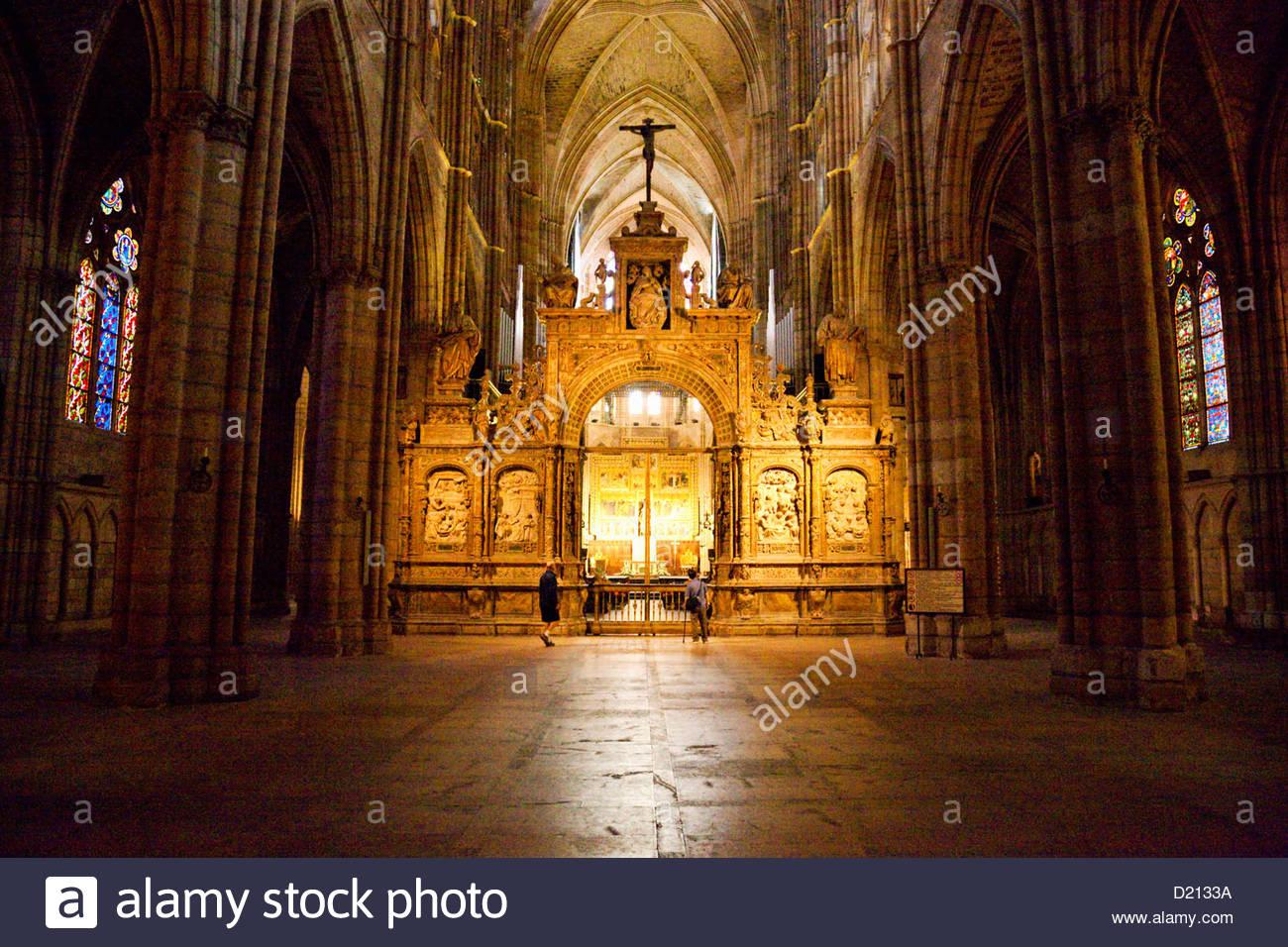 Inside Leon Cathedral, Leon, Castile-Leon, Spain - Stock Image