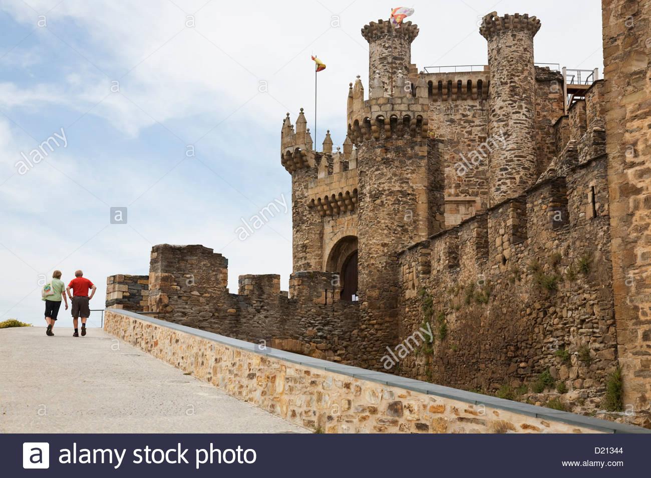 Templar castle in Ponferrada, Castile-Leon, Spain - Stock Image